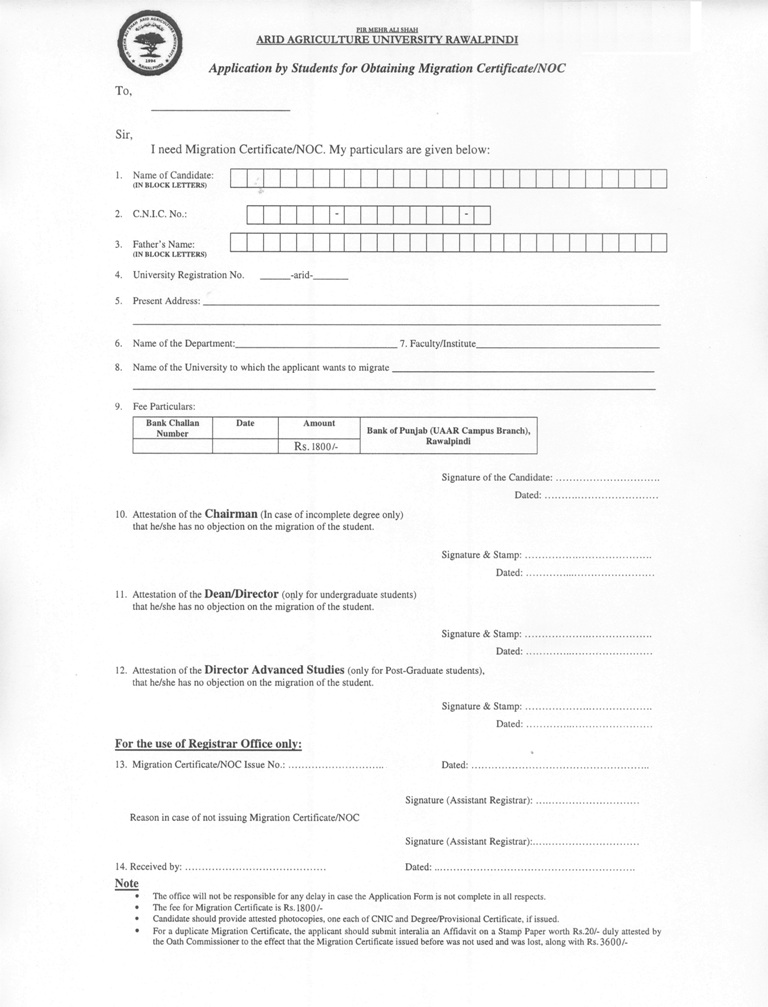 Pmas arid agriculture university rawalpindi migration certificatenoc application form thecheapjerseys Images