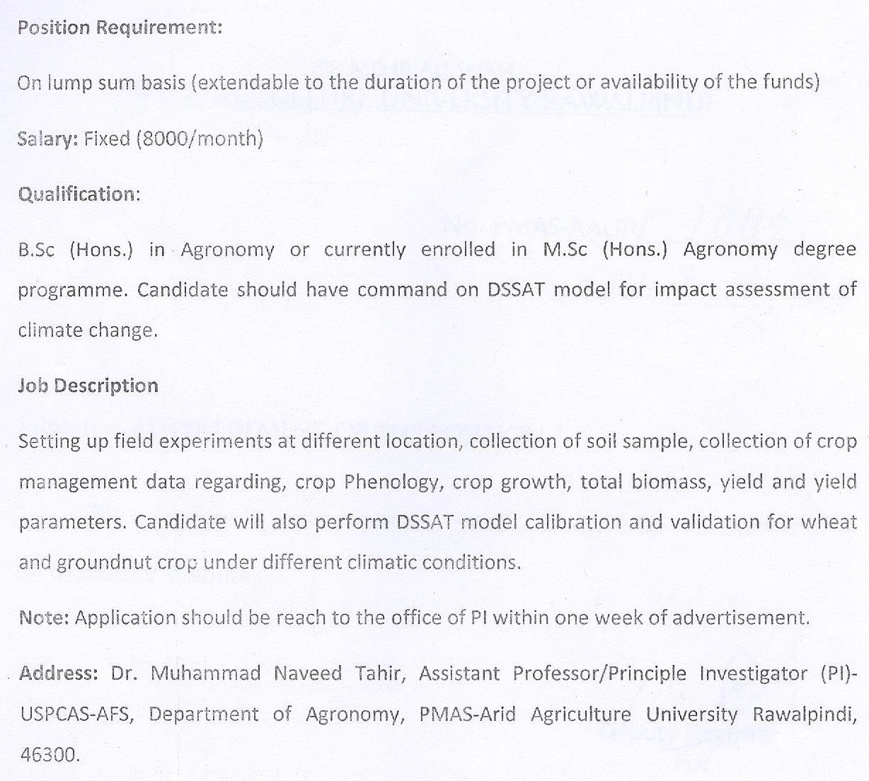 Pmas arid agriculture university rawalpindi jobs application form bs 17 and above falaconquin