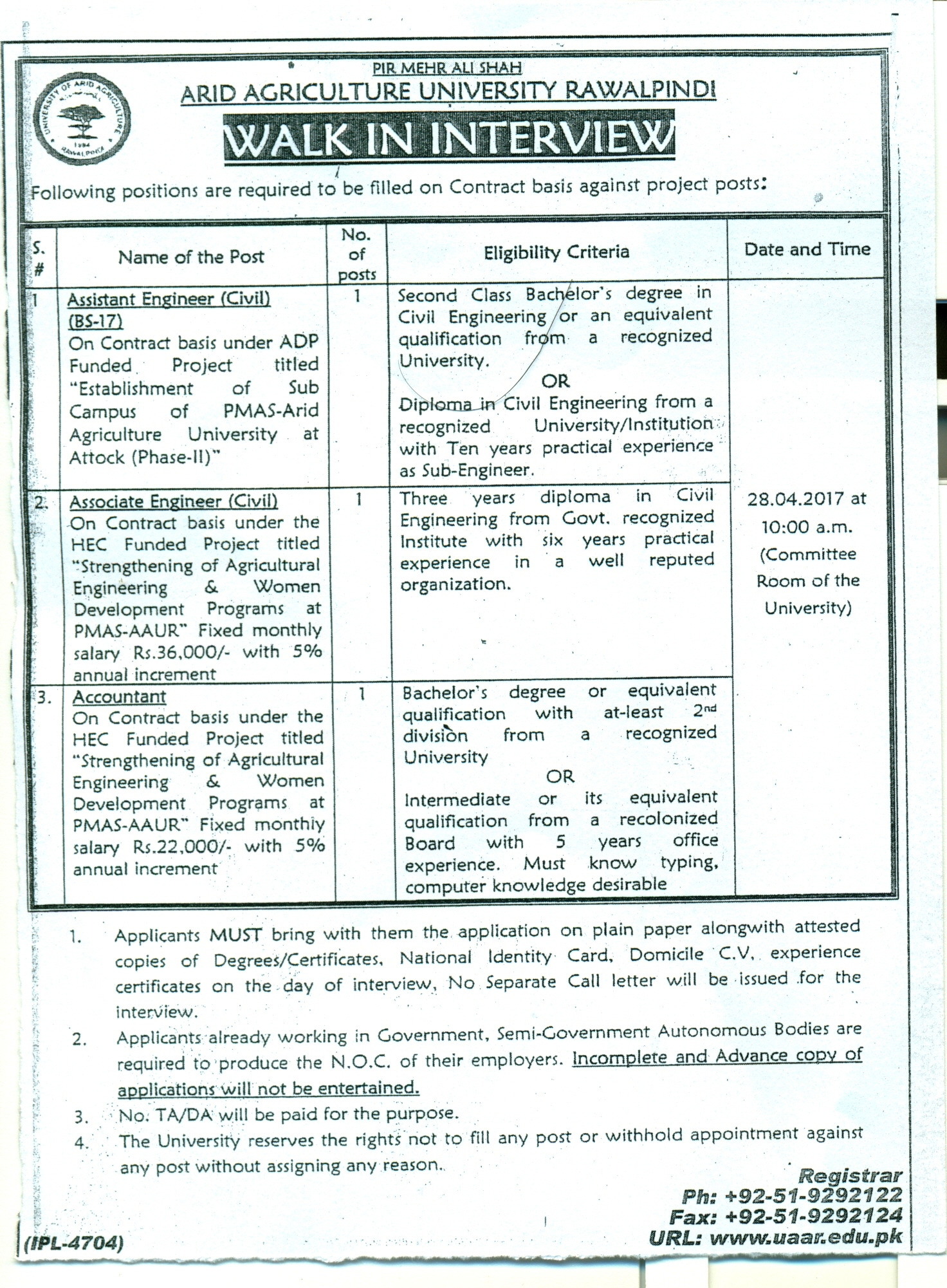Pmas arid agriculture university rawalpindi situation vacant assistant engineer bs 17 associate engineer accountant yelopaper Gallery